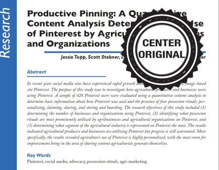 Productive Pinning: A Quantitative Content Analysis Determining the Use of Pinterest by Agricultural Businesses andOrganizations